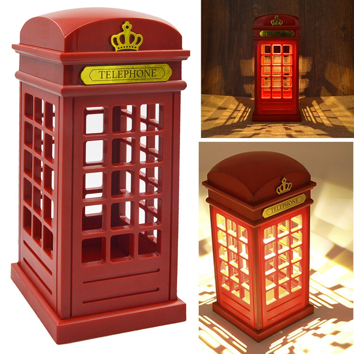 Vintage London Telephone Booth Designed USB Charging LED Night Lamp Touch Sensor Table Desk Light Touch Panel Power-Saving Light by Toner Depot