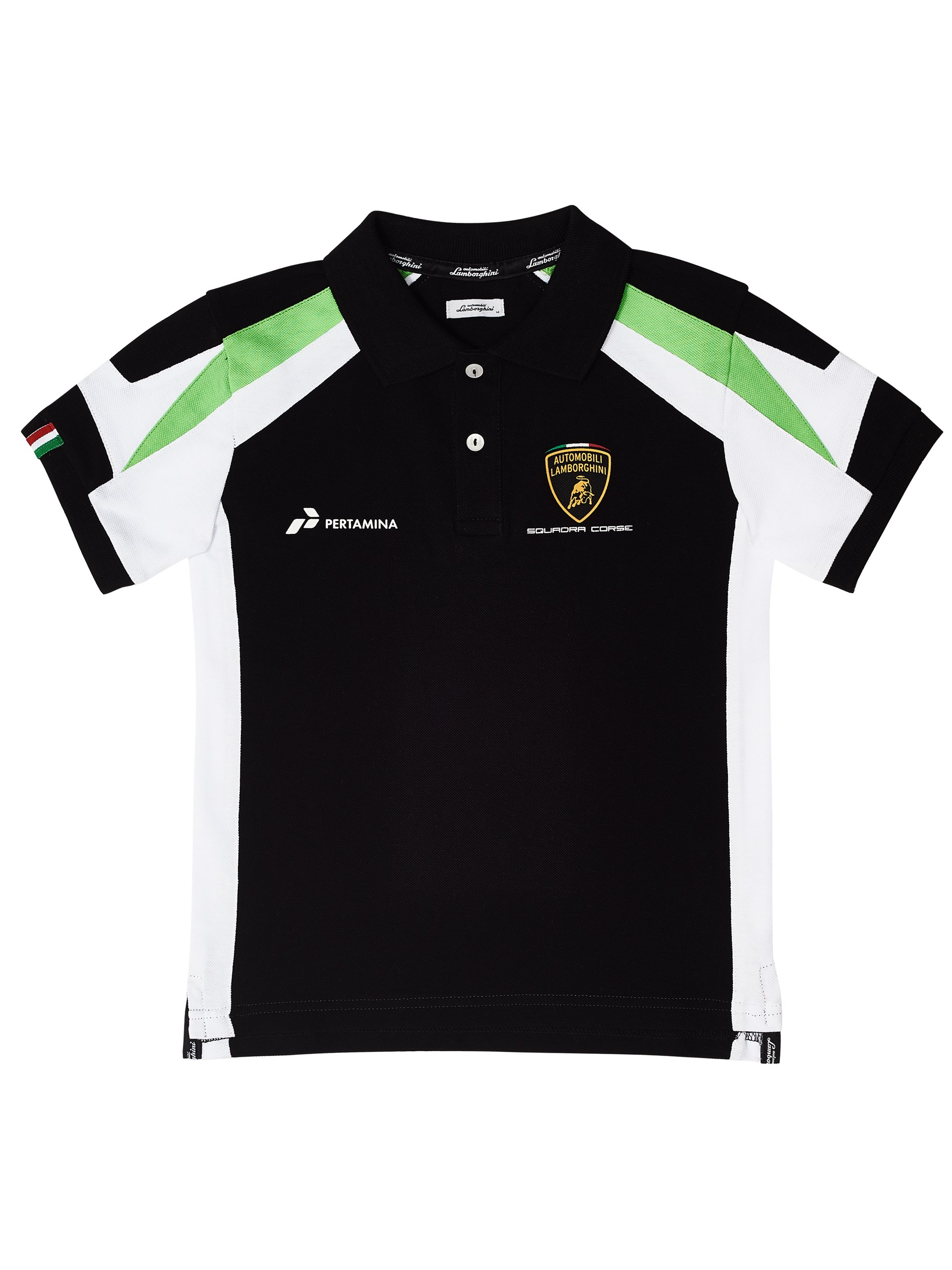 Automobili Lamborghini Children Sq. Corse Lamborghini Boy's Polo Shirt 7-8 Y Black by Automobili Lamborghini