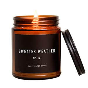 Sweet Water Decor Sweater Weather Candle | Woods, Warm Spice, and Citrus Autumn Scented Soy Wax Candle for Home | 9oz Amber Glass Jar, 40 Hour Burn Time, Made in the USA