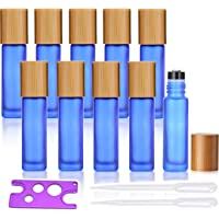 Frosted Glass Essential Oil Roller Bottles,10 Pack 10ml 1/3 Oz Roller Bottles with Stainless Steel Roller Balls,Bamboo…