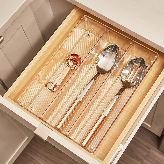 InterDesign Linus Organizador de cajones, cubertero para cajones de cocina extragrande en plástico para cubiertos y otros utensilios, ...