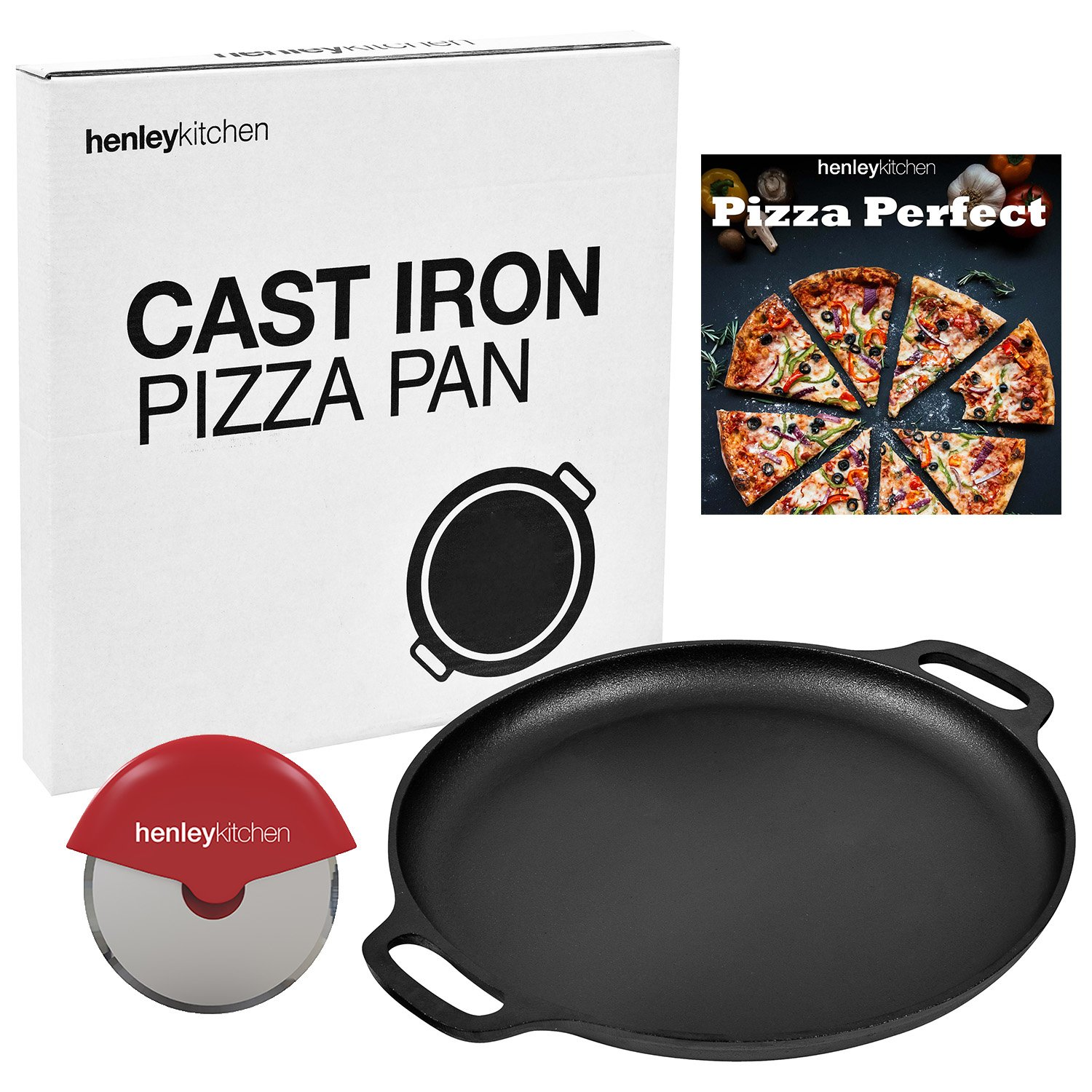 Henley Kitchen - Pre-Seasoned Cast Iron Pizza Pan - 14 Inch Pizza Stone with Cutter and Cookbook eBook