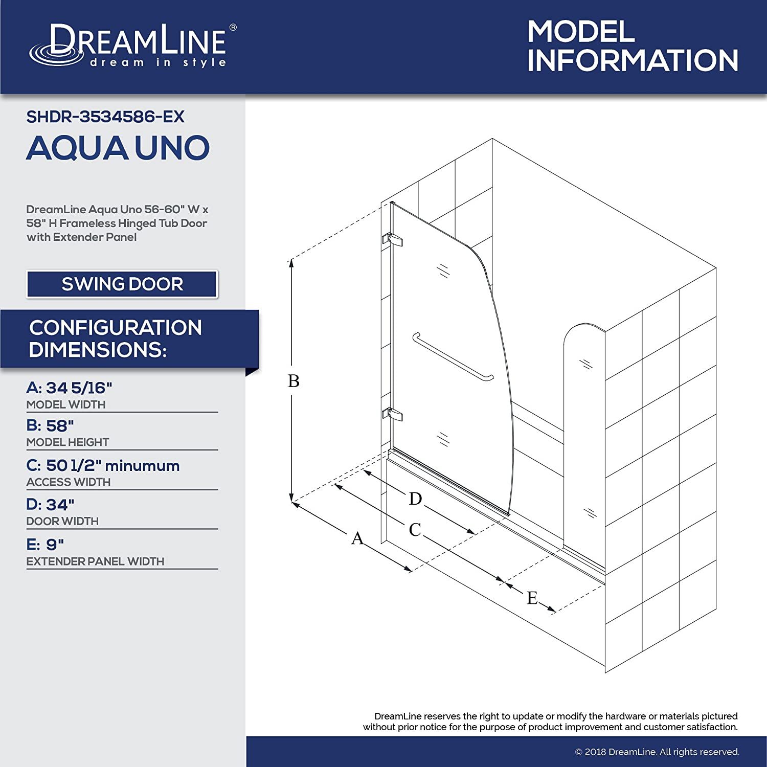 H Frameless Hinged Tub Door with Extender Panel in Chrome SHDR-3534586-EX-01 DreamLine Aqua Uno 56-60 in W x 58 in