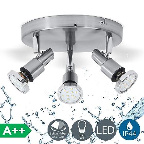 Lámpara de techo para baño incl. 3x5W bombillas LED IP44 ...