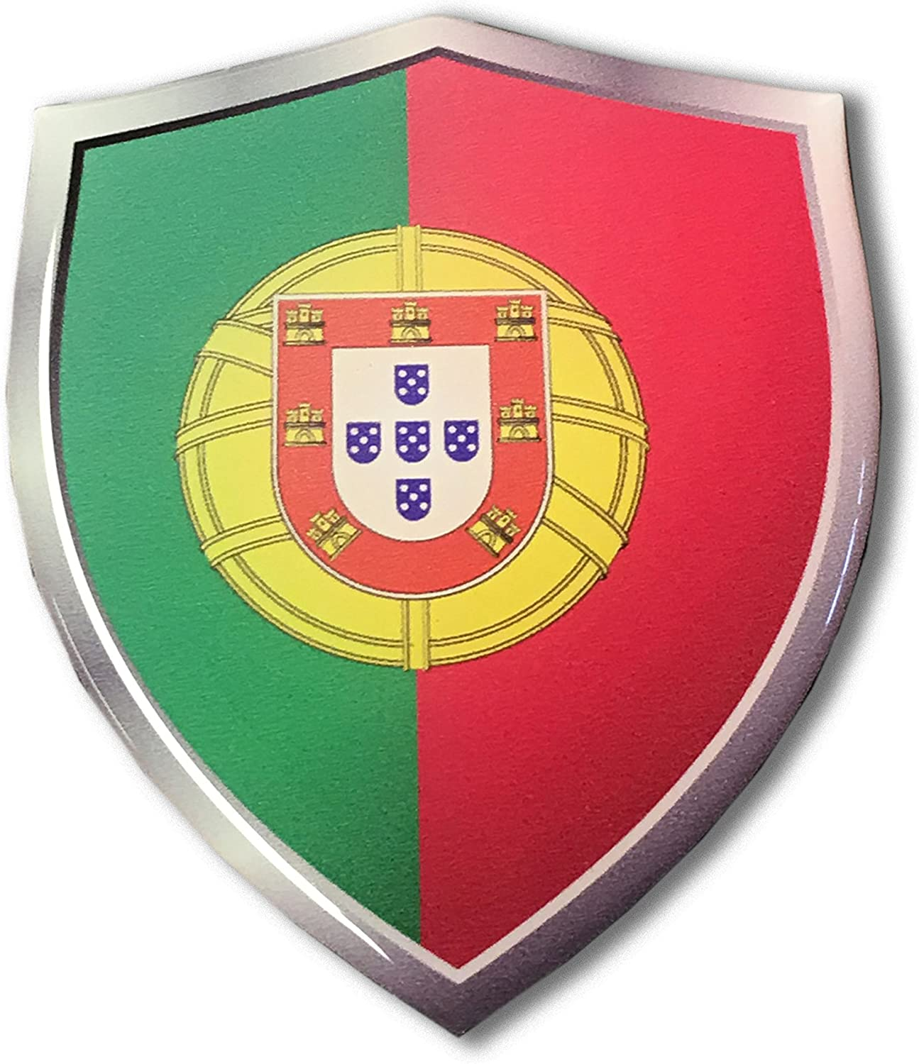"2-3/"" Portugal portugese Flag Shield Decal SET Badge"