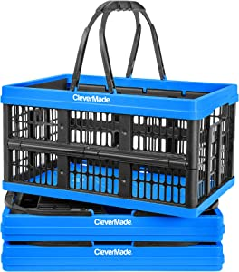 CleverMade Collapsible Plastic Grocery Shopping Baskets: Small Folding Stackable Storage Containers / Bins with Handles, Pack of 3, Neptune Blue