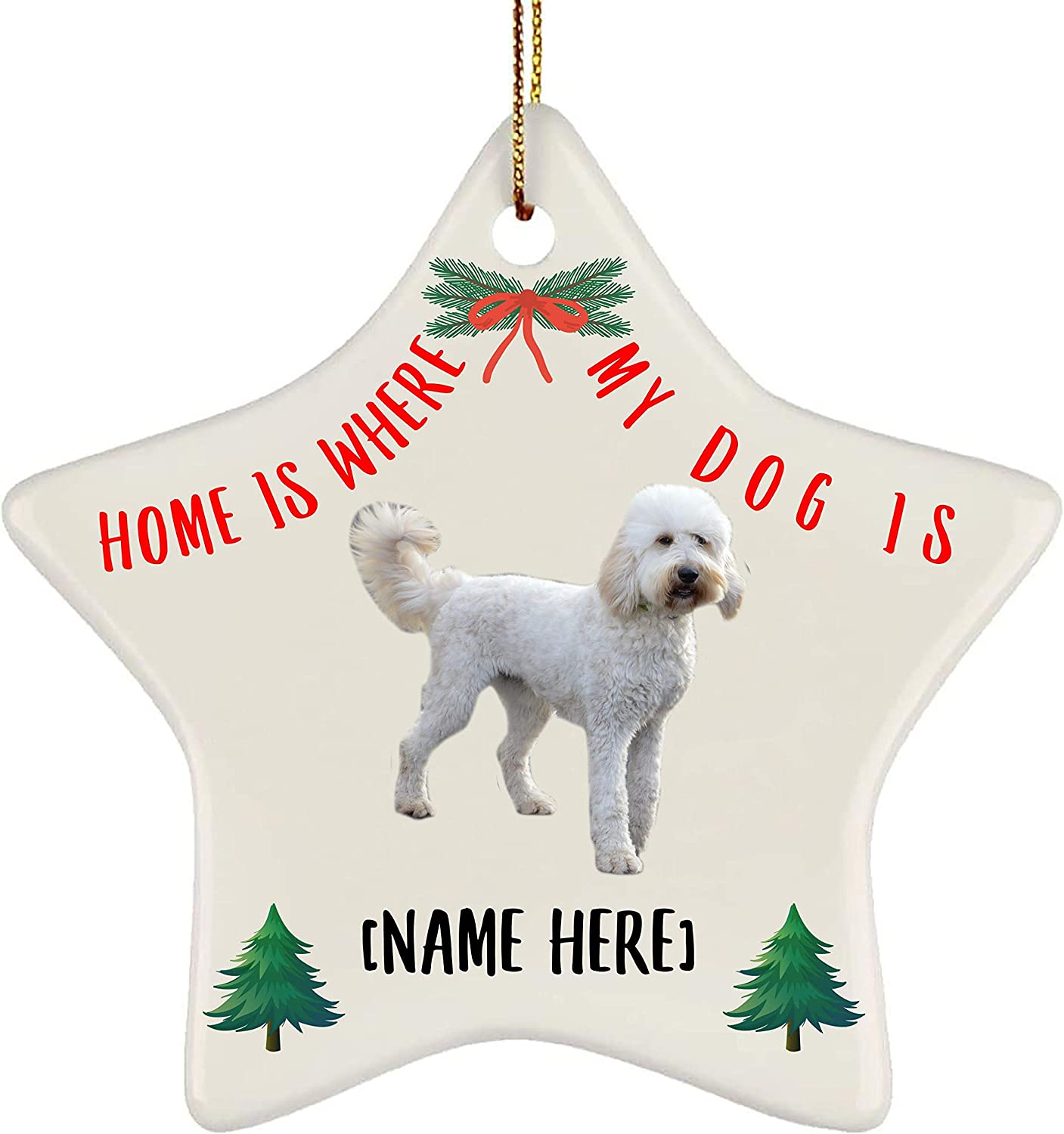 Lovesout Personalized Name Goldendoodle White Home is Where My Dog is Christmas Star Ornament