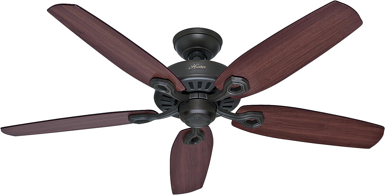 Hunter Fan Builder Elite Ventilador de techo, 66 W, Acero Inoxidable, 3 Velocidades, Bronce