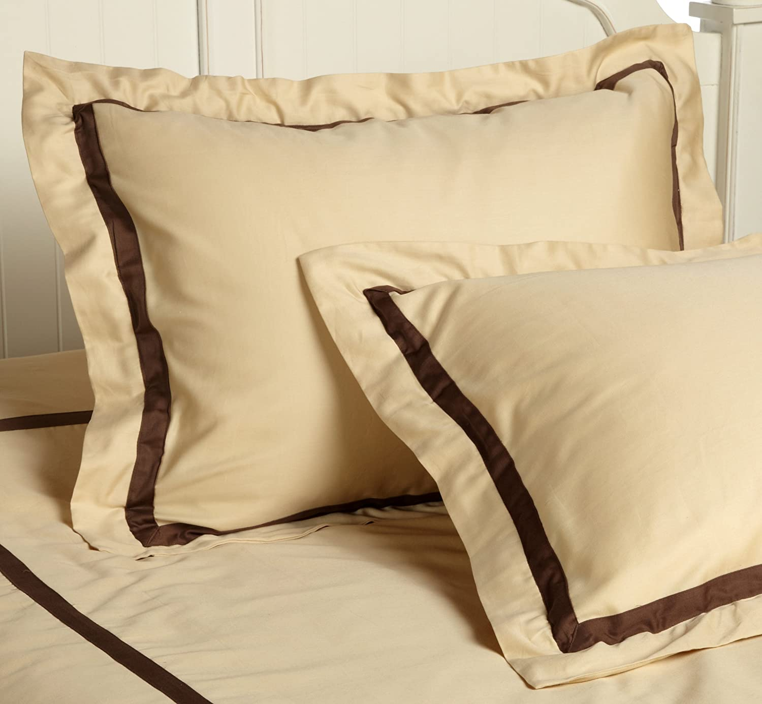 Superior 300 Thread Count 100/% Cotton Single Ply King//California King Duvet Cover Set Mocha with Honey MOXHYKCDCSL300H Hotel Collection