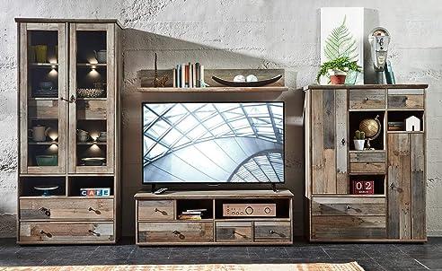 Wohnzimmerschrank Wohnwand Schrankwand Anbauwand Fernsehwand Wohnzimmerschrankwand Wohnschrank Driftwood