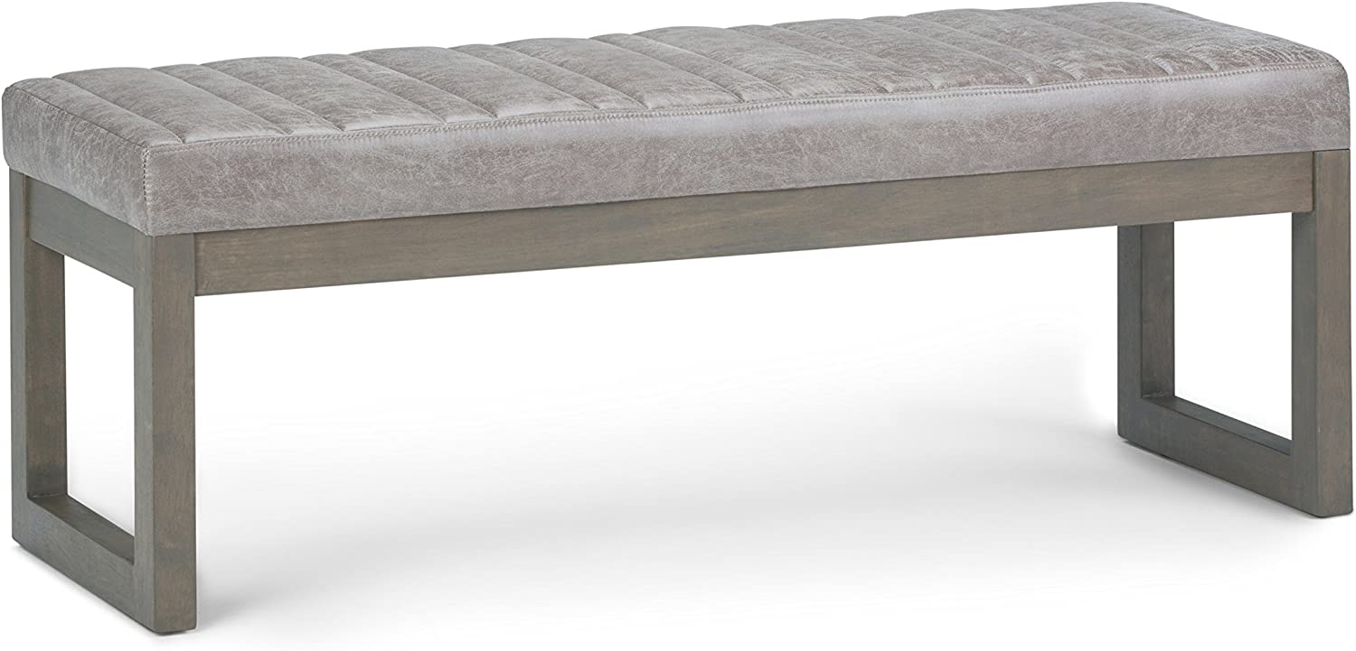 SIMPLIHOME Casey 48 inch Wide Rectangle Ottoman Bench Distressed Grey Taupe Footrest Stool, Faux Air Leather for Living Room, Bedroom, Contemporary Modern
