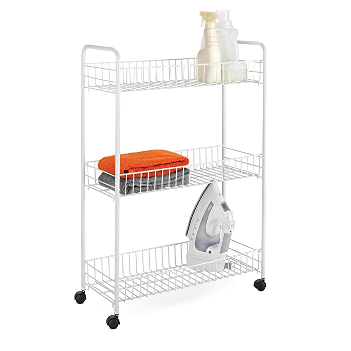 "Honey-Can-Do Crt-01149 3-Tier Laundry Cart, 23""L x 8""W x 31""H, White"