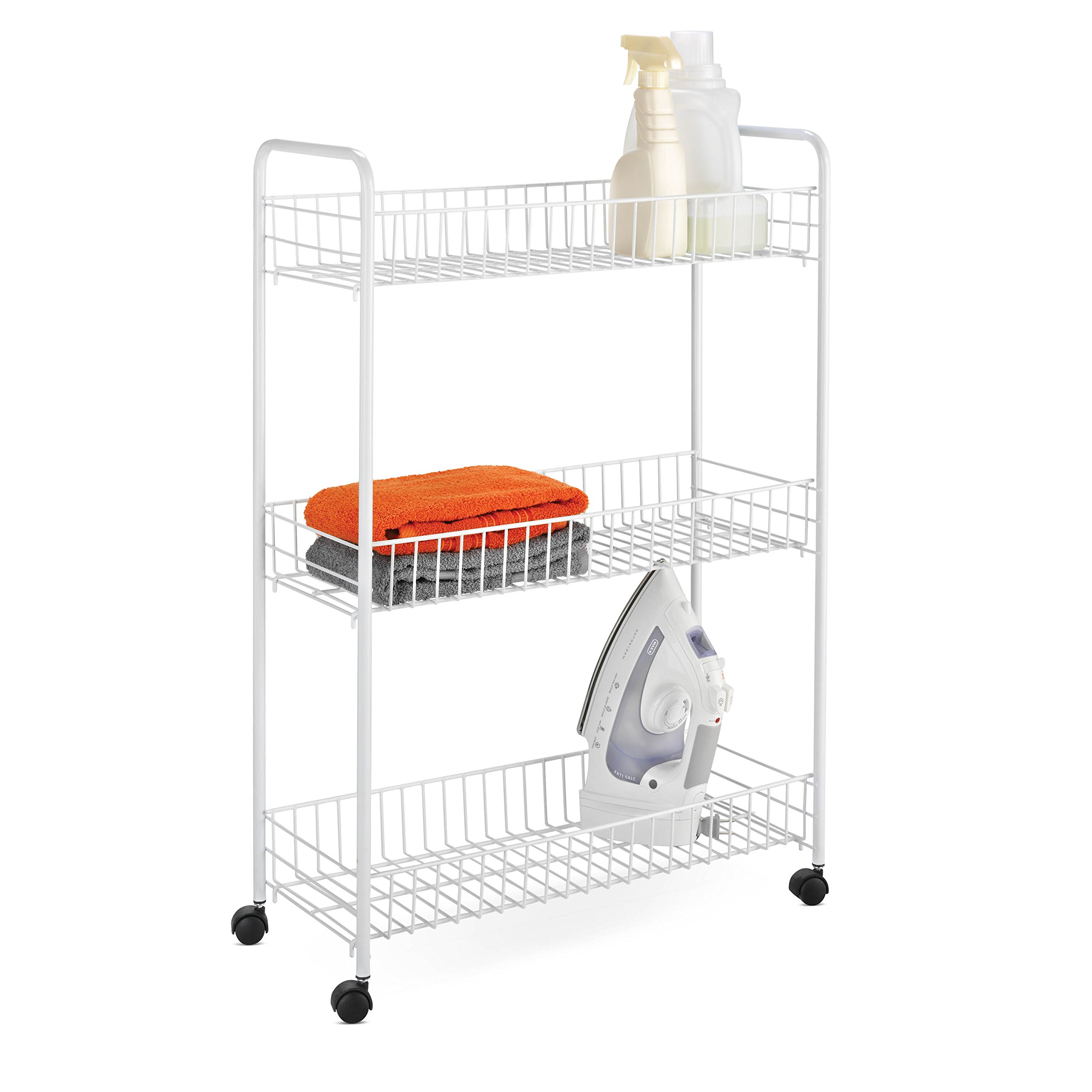 Honey-Can-Do Crt-01149 3-Tier Laundry Cart White 3-Tier Rolling Household Cart 8
