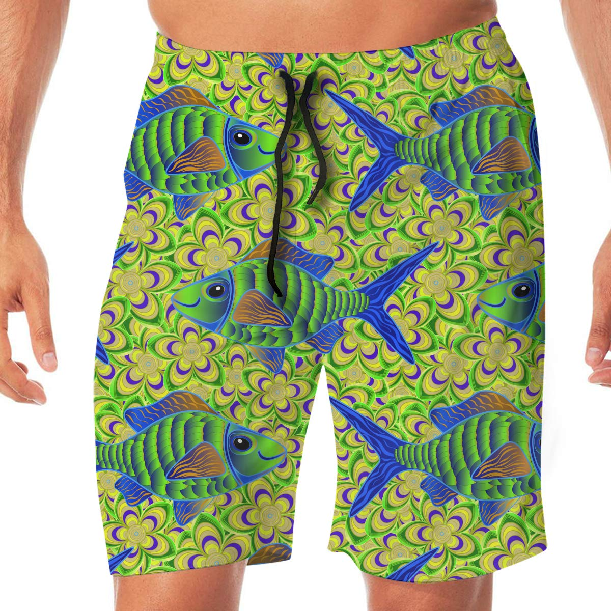 Flying XIE Colorful Fish Swimming Mens Popular Beach Shorts Surf Board Holiday Swim Trunks