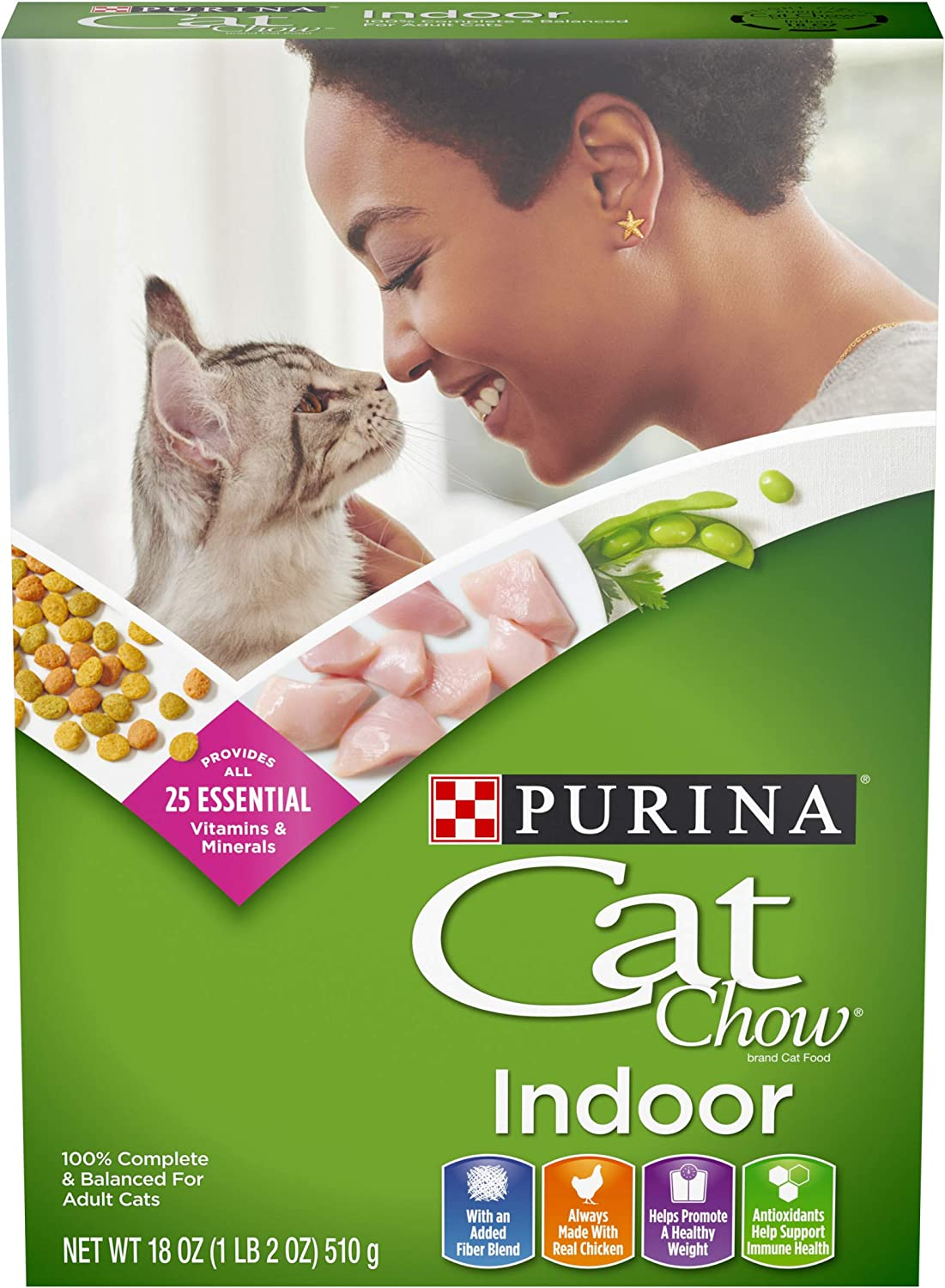 Purina Cat Chow Hairball, Healthy Weight, Indoor Dry Cat Food, Indoor - (12) 18 oz. Boxes