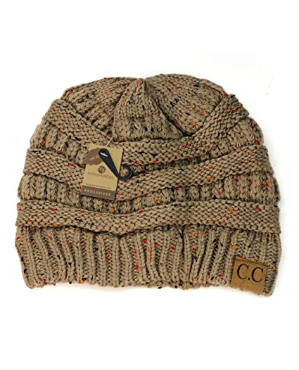 f44c4677187fd C.C NYfashion101 Exclusive Colorful Confetti Soft Stretch Cable Knit Slouch  Beanie - Taupe