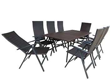 de 9 piezas XXL Luxus aluminio Polirratán Muebles de Jardín ...