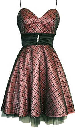 Pink and black satin mesh prom dress