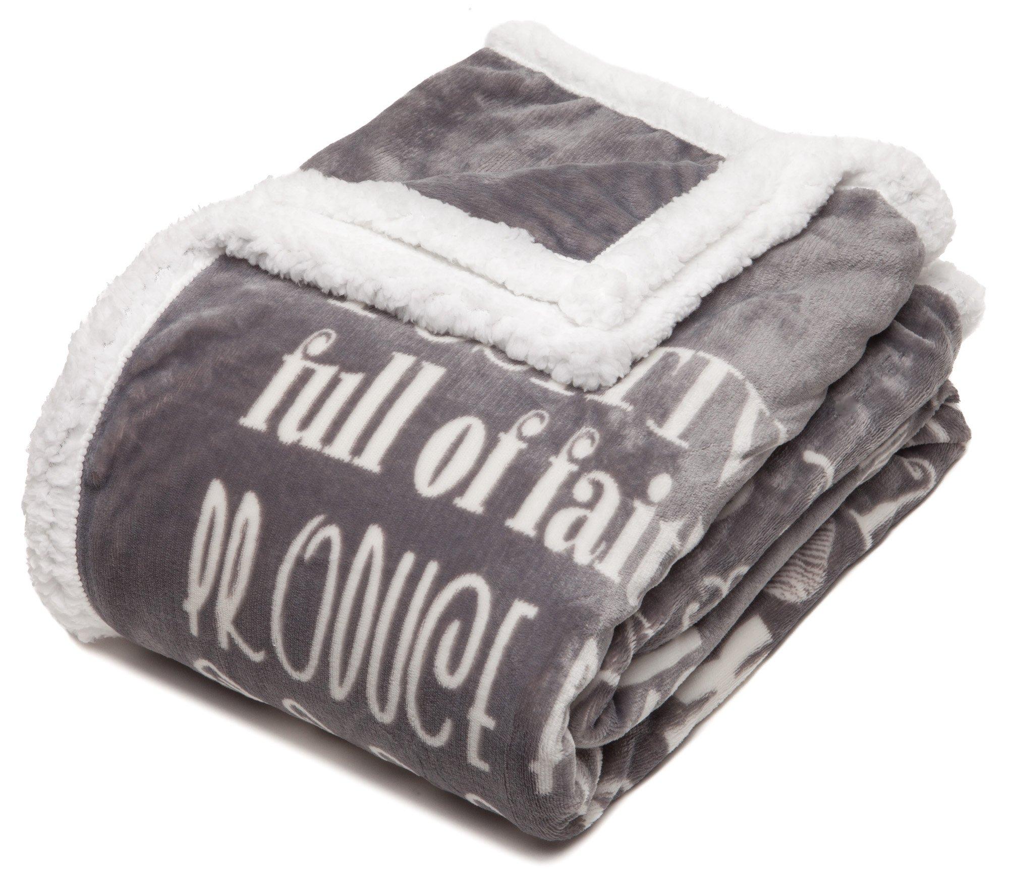 Chanasya Hope and Faith Inspirational Message Print Super Soft Ultra Plush Cozy Fleece Microfiber Sherpa Posivite Energy Comfort Caring Uplifting Gift Throw Blanket - for Women Men - Grey Blanket by Chanasya (Image #6)