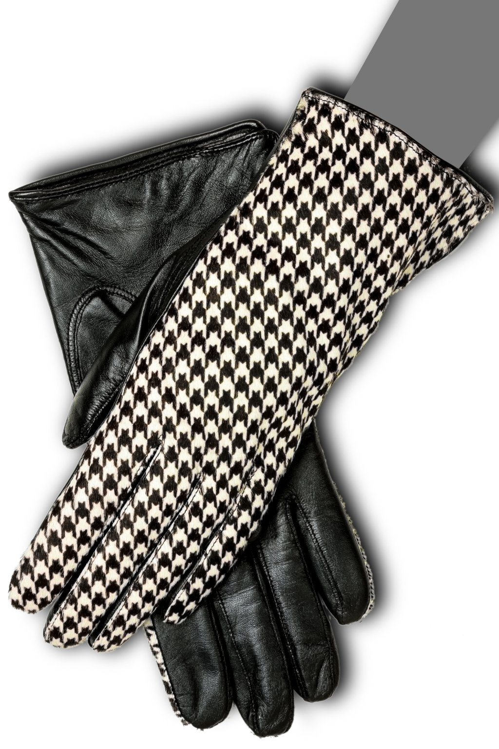 Gaspar Womens Houndstooth Pattern High Fashion Touchscreen Gloves (7.5)