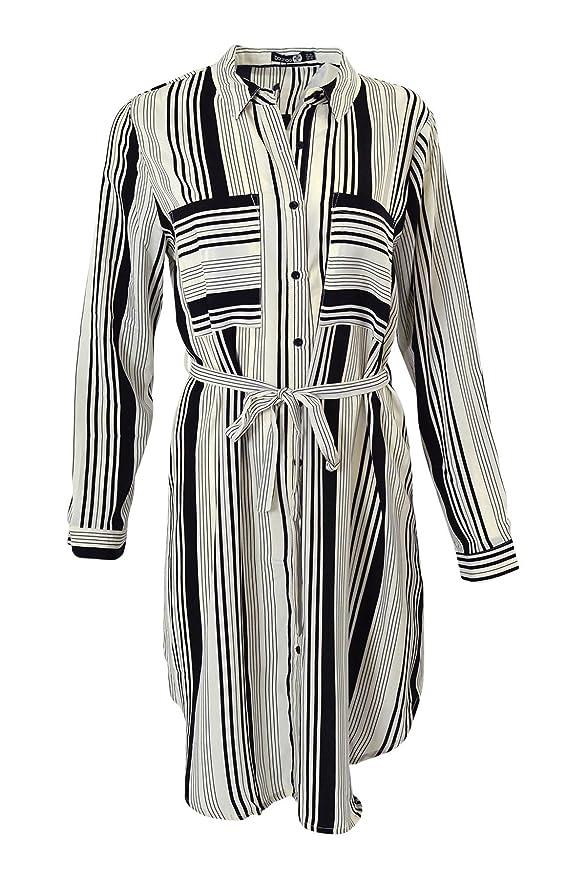 484af81bfcad Boohoo Ivory Black Stripe Shirt Dress RRP £25: Amazon.co.uk: Clothing