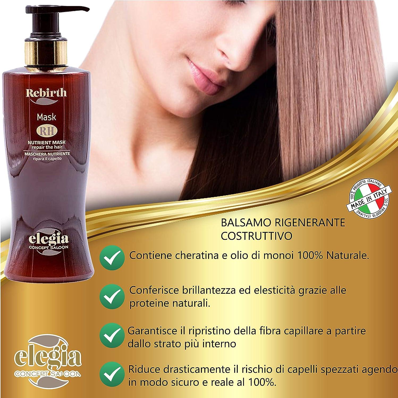 Elegia - Kit de tratamiento profesional para el cabello seco, desfibrado y dañado ✔ Champú – Máscara nutritiva – Spray regenerador y acondicionador ...