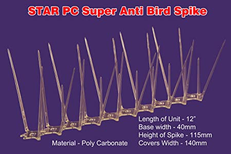 Star Nets Pigeon Control Spikes,Polycarbonate Anti - Bird Spikes (Set Of 10 Pcs)