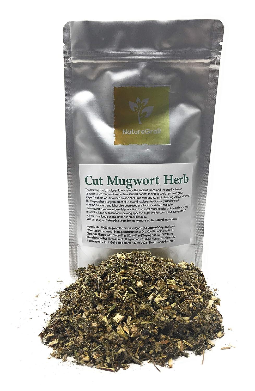 Cut Mugwort Herb - Ingredients: 100% Artemisia Vulgaris - Riverside Wormwood, Felon Herb, Chrysanthemum Weed, Sailor's Tobacco, St. John's Plant - Organic, Kosher, Halal - Net Weight: 1.23oz / 35g