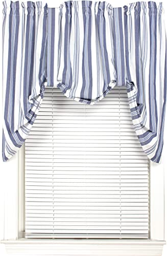 York 60 Inches Wide x 32 Inches Long Polyester Burdock Tie Up Valance Curtain, Navy