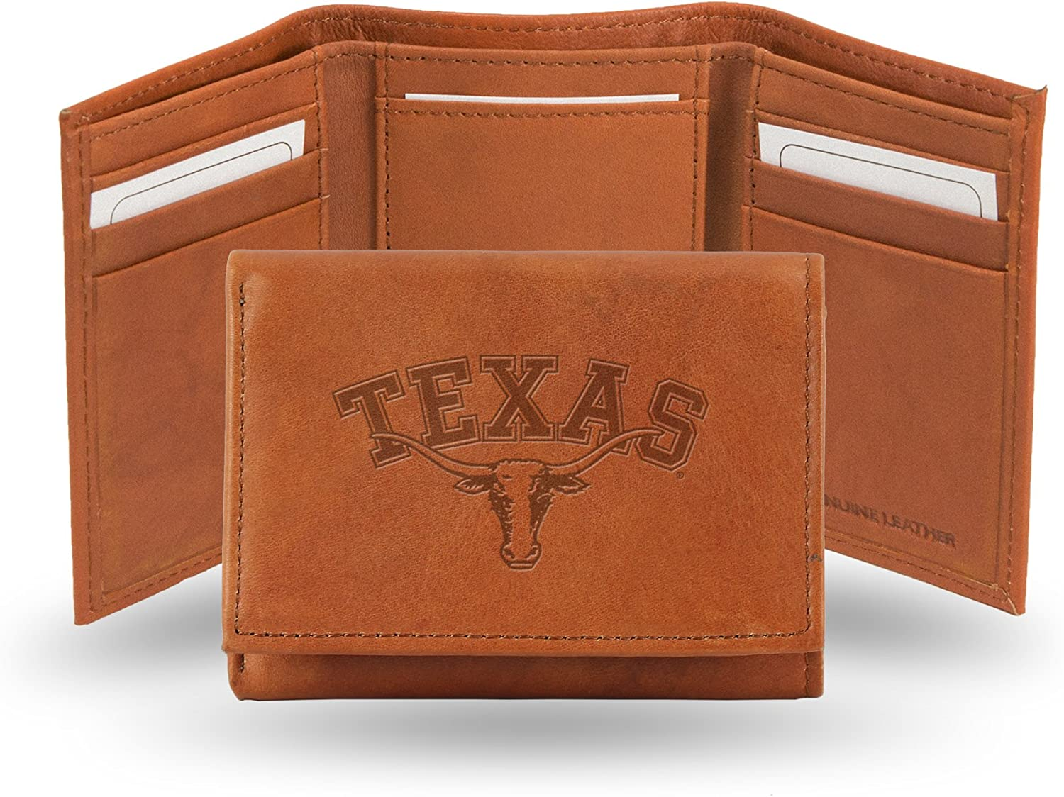 Tan Rico Industries NCAA Texas Longhorns Embossed Leather Trifold Wallet
