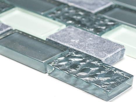 Mosaico piastrelle brick crystal di rete pietra mix grigio vetro