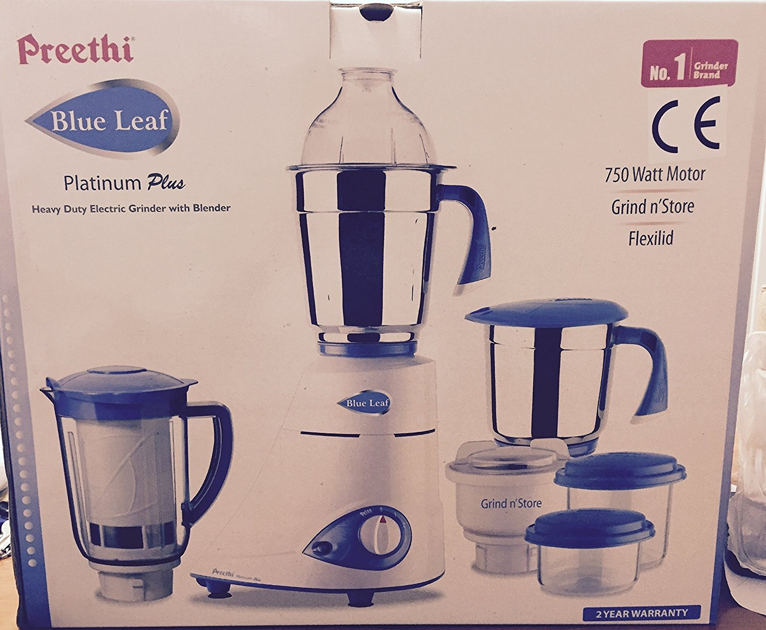Preethi Blue Leaf - Platinum PLUS Wet and Dry Heavy Duty Electric Grinder - 750 Watts / 100% Stainless Steel Jars and Blades FREE UK POSTAGE