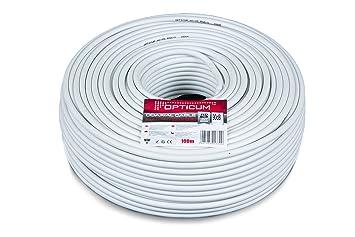Opticum Cable coaxial (90 db-100 Metros, 2 Capas, RG6, de
