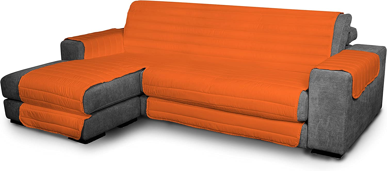 Italian Bed Linen Elegant - Funda Protectora para Sofá Chaise Longue Izquierdo, Microfibra, Naranja, Medida del asiento 240 cm + cubre brazos laterales