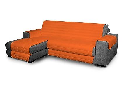 Italian Bed Linen Elegant - Funda Protectora para Sofá Chaise Longue Izquierdo, Microfibra, Naranja, Medida del asiento 290 cm + cubre brazos ...