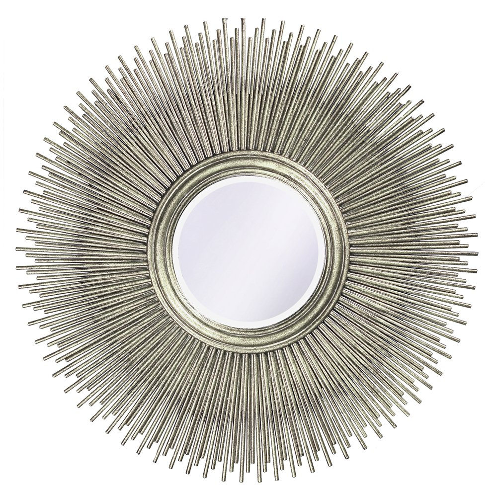 Howard Elliott Singapore Silver Leaf Mirror, Multi Rod Starburst Frame, 50 Inch Diameter