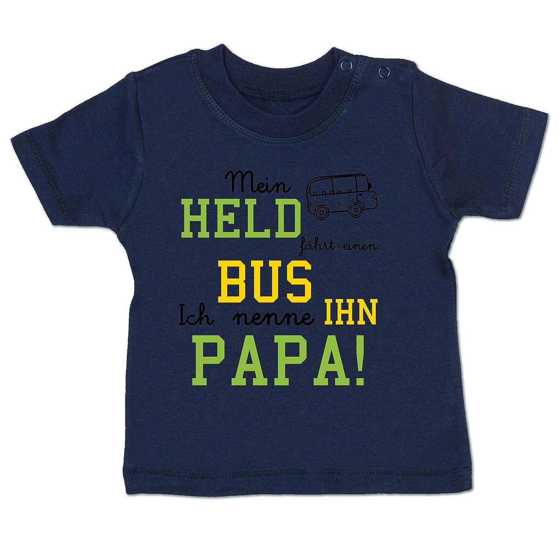Shirtracer Sprü che Baby - Mein Held fä hrt Bus - Babyshirt Kurzarm BZ02