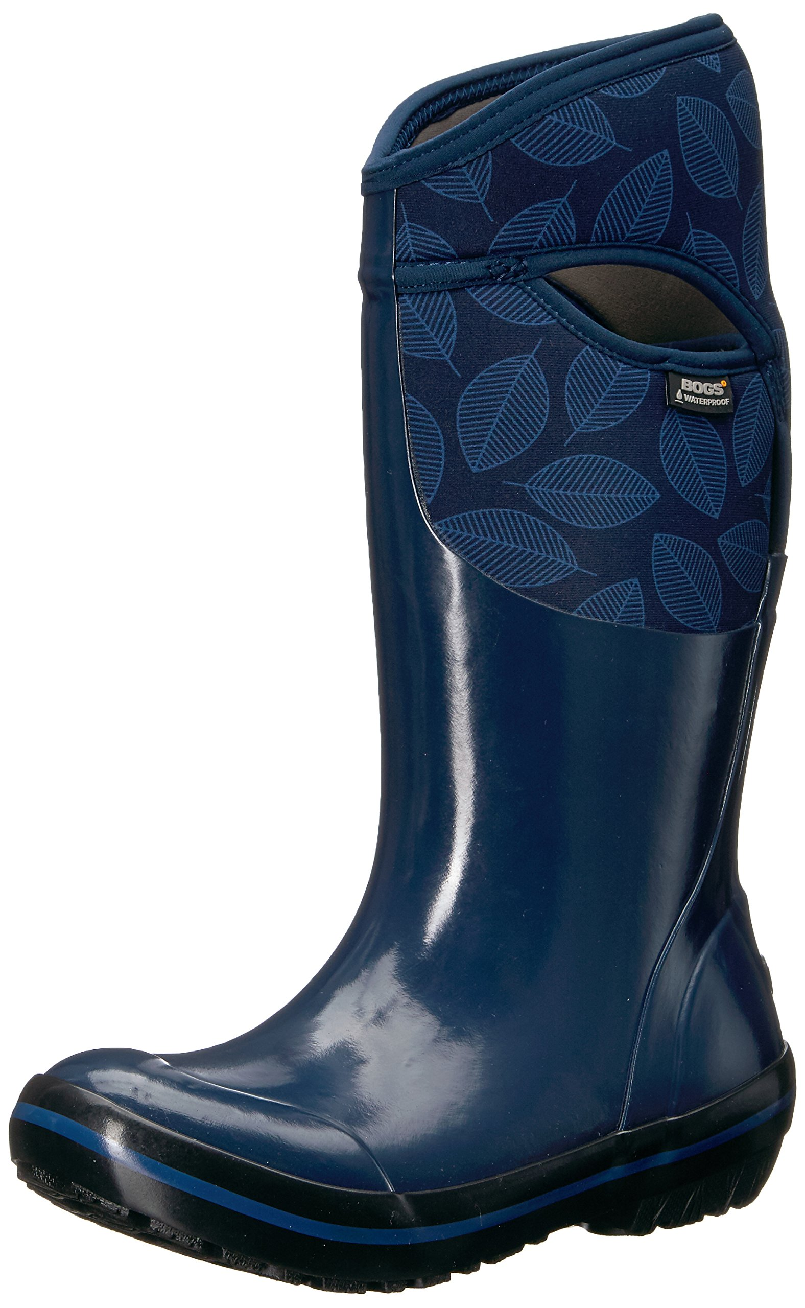 Bogs Women's Plimsoll Leafy Tall Snow Boot, Dark Blue/Multi, 8 M US