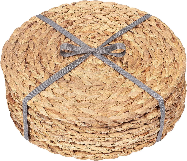 Dehaus® Salvamanteles Redondos de 30 cm (12 Pulgadas) - Juego de 6 Manteles Individuales de Tejido Trenzado con Jacinto de Agua de Calidad (6 Unidades)