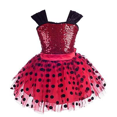 Dressy Daisy Girls Polka Dots Ladybug Costume Tutu Dress Halloween Christmas Fancy Party Dresses: Clothing