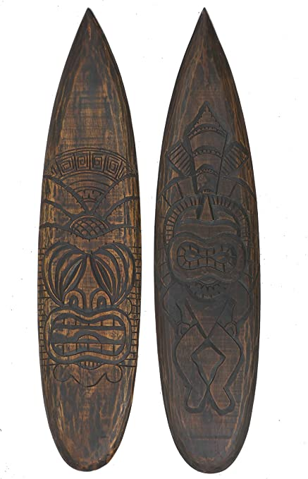 2 Tiki Deko Tablas de surf de madera 100 cm estilo Hawaii Maui Deko Surf Tabla