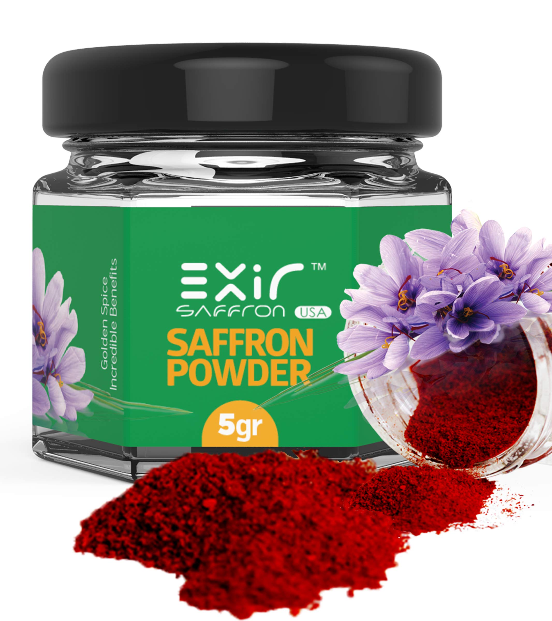 Exir Saffron Powdered (5-grams) - Sprinkle Herb and Spice Seasoning