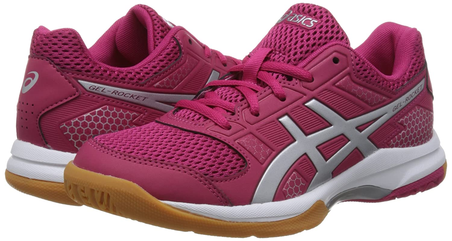 Amazon.com | ASICS Womens Gel-Rocket 8, Bright Rose/Silver/Burgundy, 8 B(M) US | Tennis & Racquet Sports