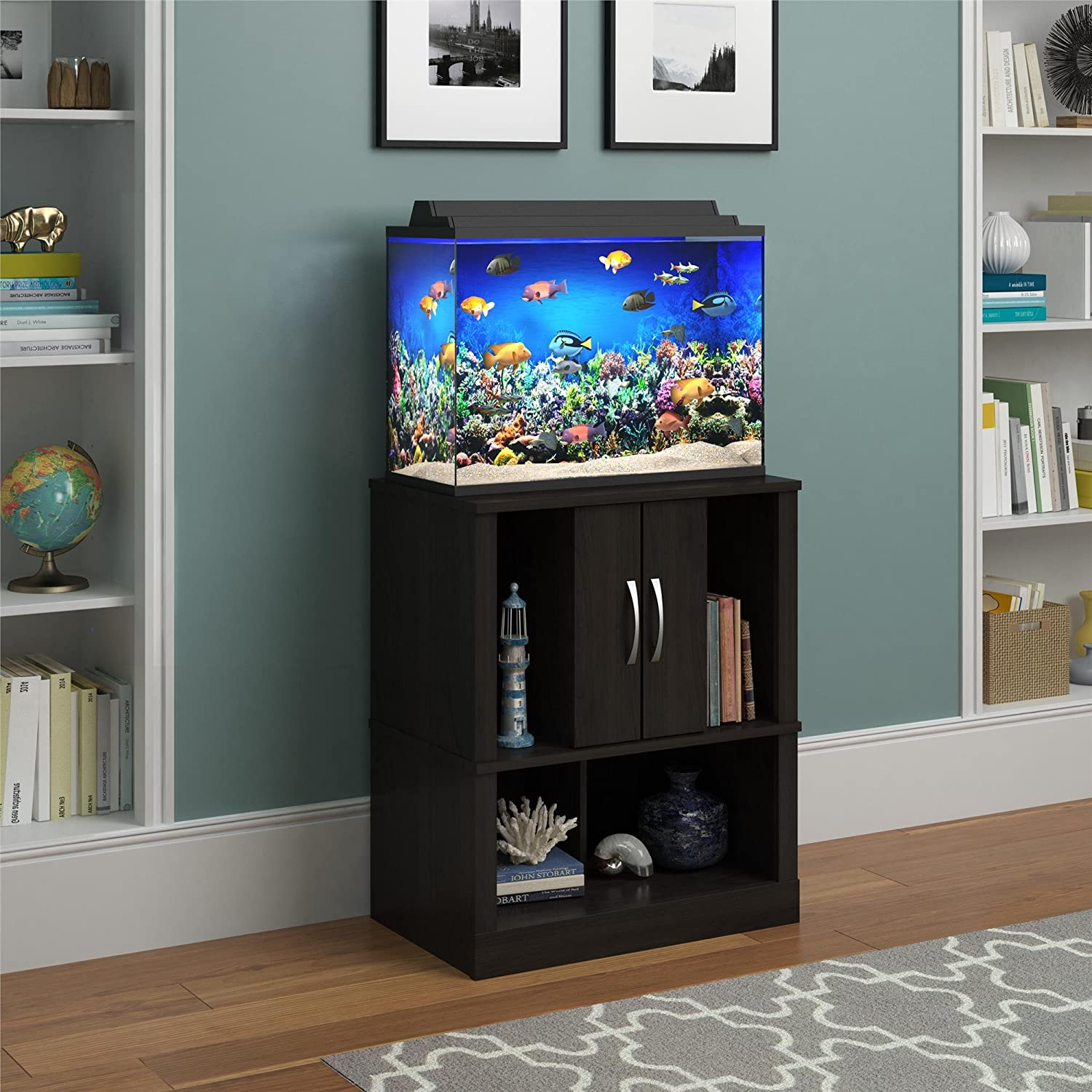 Amazon.com : Ameriwood Home Cove 20 Gallon Aquarium Stand, Espresso : Pet  Supplies