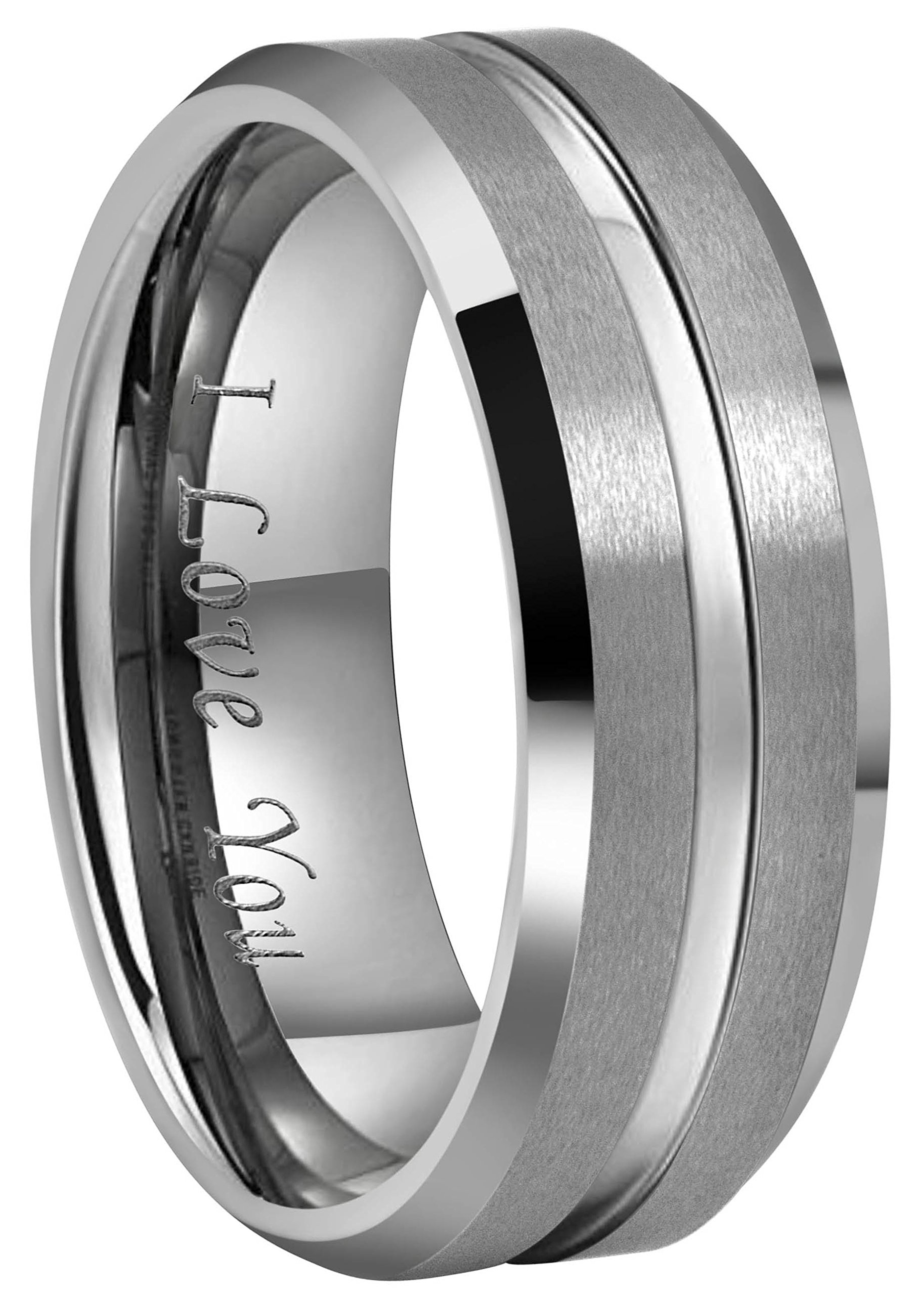 Crownal 10mm 8mm 6mm Tungsten Wedding Band Ring Engraved ''I Love You'' Men Women Polished Groove Matte Finish Beveled Edges (8mm,7)