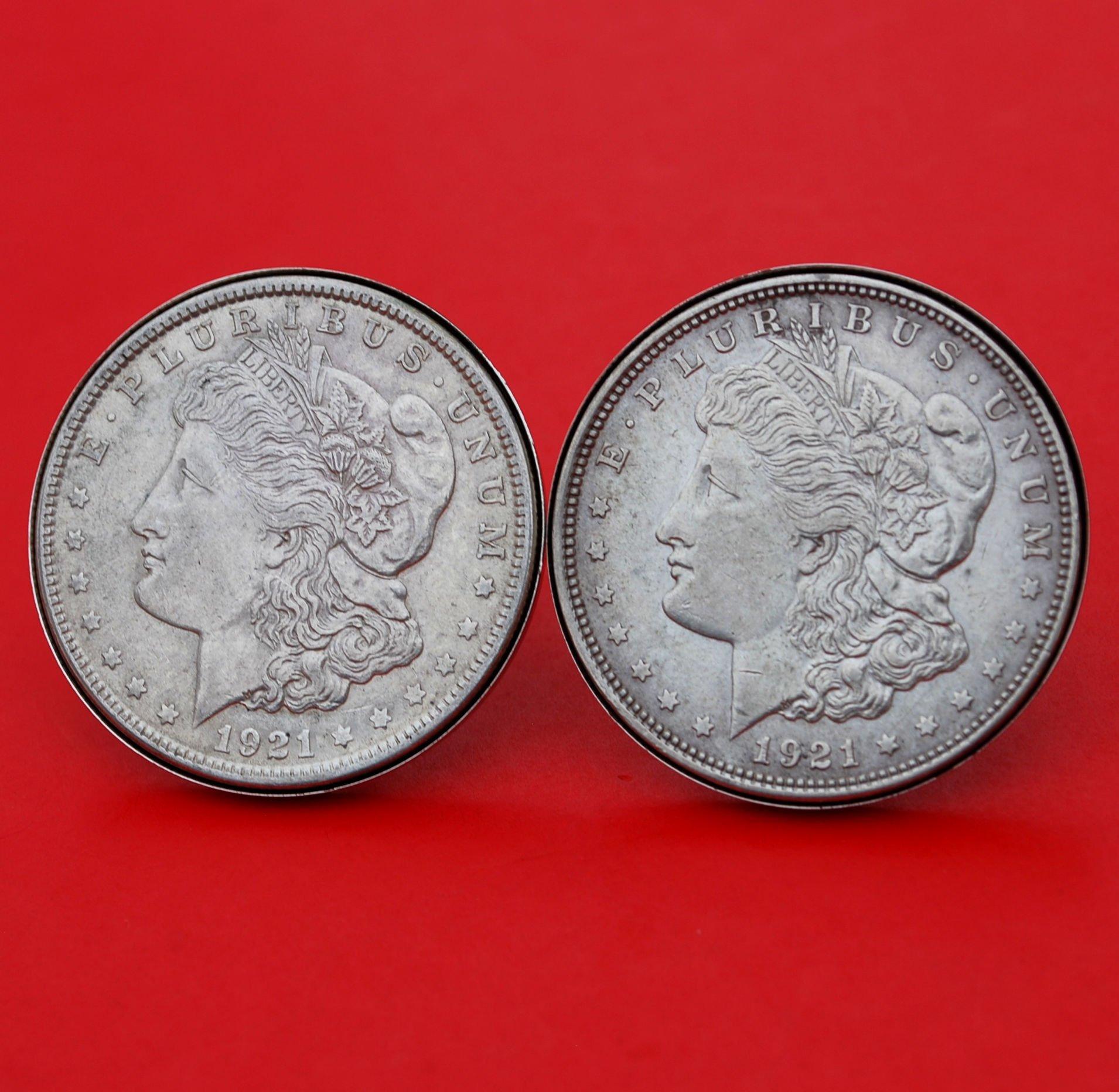 US 1921 Morgan Silver Dollar Silver Cufflinks NEW