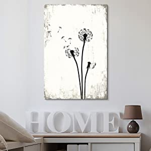 """wall26 - Dandelion Seeds on Rustic Background - Canvas Art Wall Decor - 24""""x36"""""""