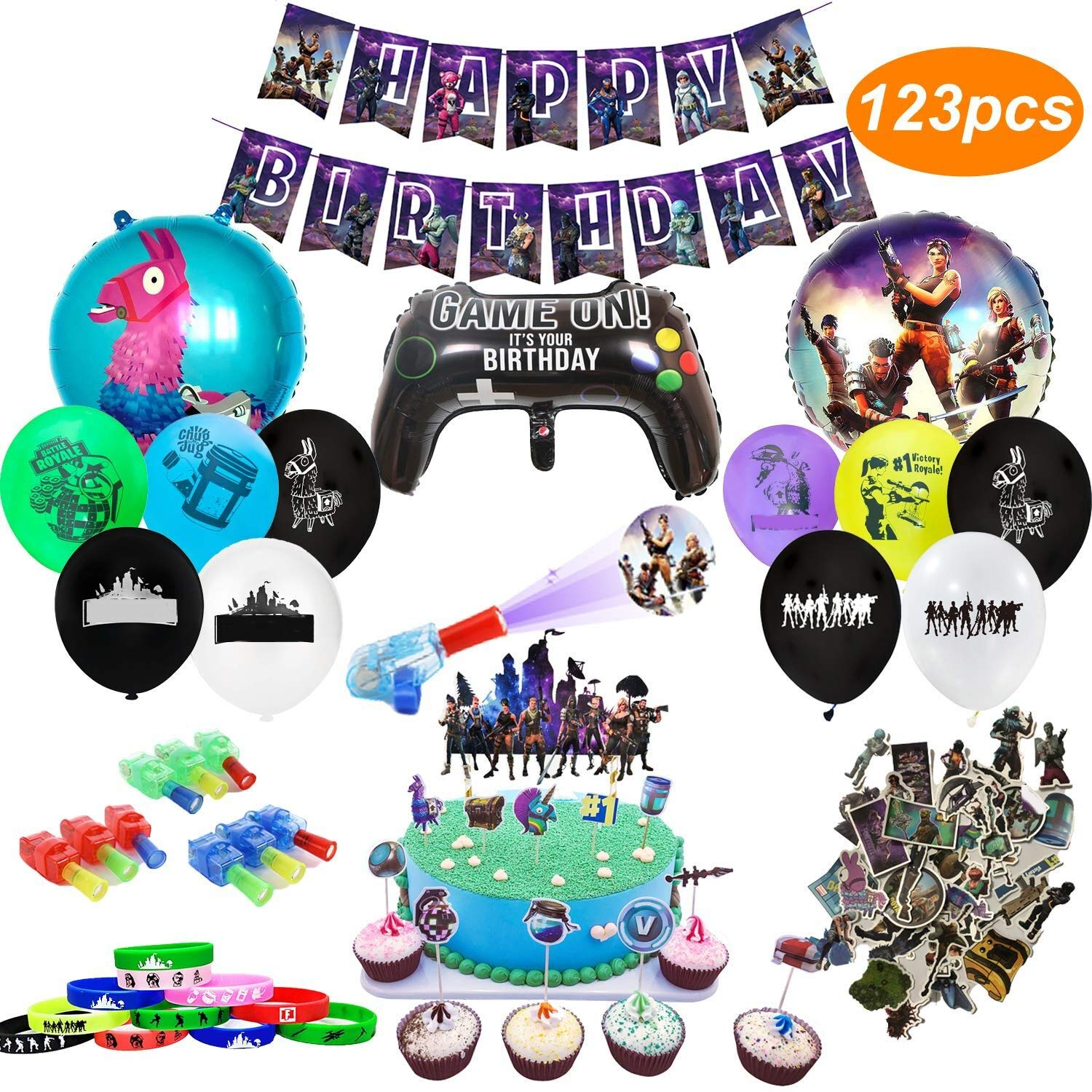 123pcs Gaming Theme Party Decorations Banner,Bracelets,Finger Lights,Stickers,Cake Toppers include Balloons Cupcake Toppers Birthday Party Supplies for Game Fans