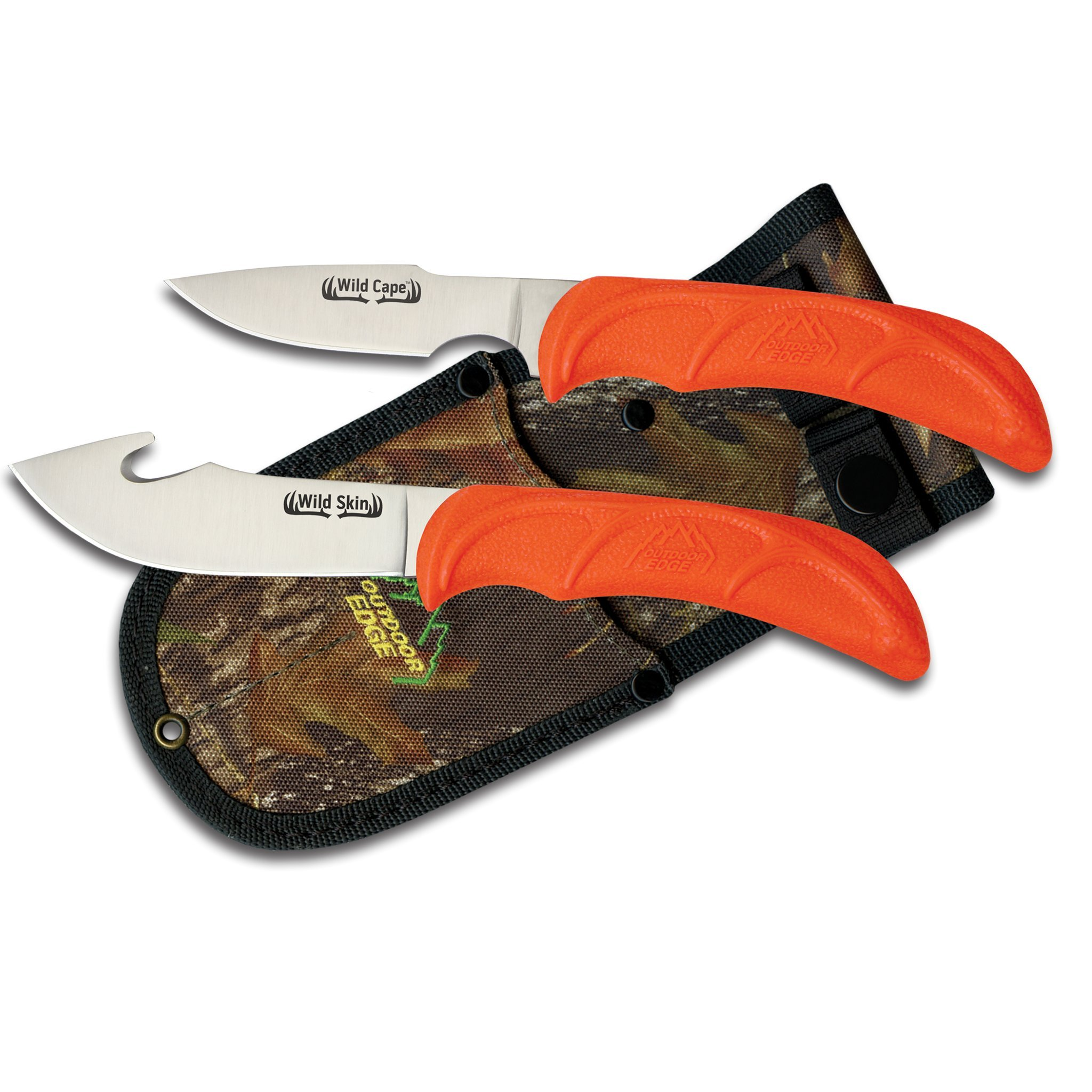 Outdoor Edge WildPair, WR-1C, Skinning and Caping Fixed Blade Hunting Knife Combo with Mossy Oak Camo Sheath