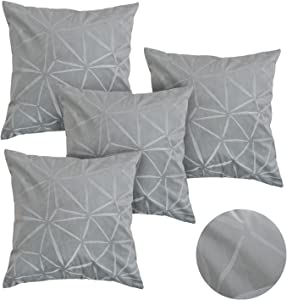 Deconovo Velvet Pillowcases Super Soft Decorative Cushion Square Cases Embossed Design Thrown Pillow Covers (White-1, 18x18 Inch-4 Pcs, Grey-4 Piece